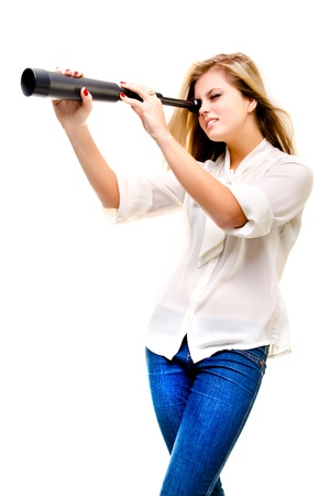 woman with telescope isolated on a white background Stock Photo - 17543885
