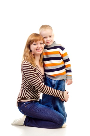 mother and child isolated on a white background photo