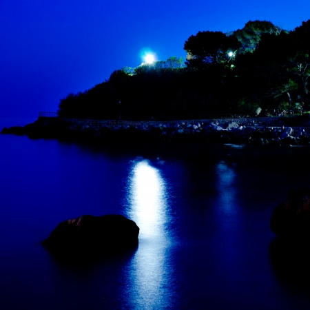 moon over the sea with reflections in the water photo