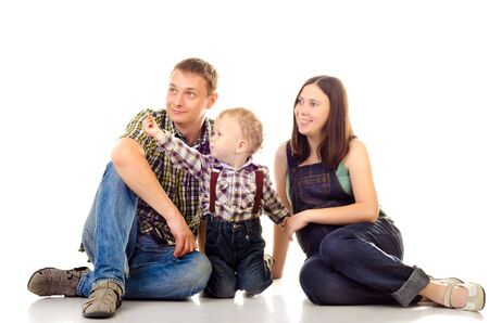 happy family isolated on a white background photo