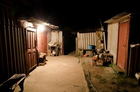 russian peasant yard at night photo