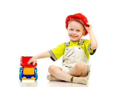child in helmet isolated on a white background photo