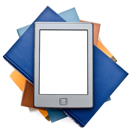electronic book isolated on a white background photo