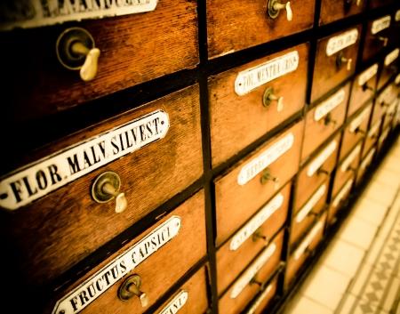 キャビネットの多くの古い薬局