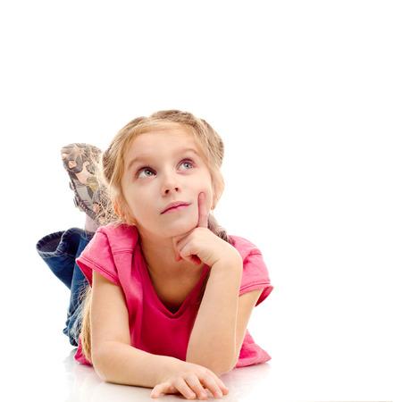 glum: sad little girl isolated on a white background