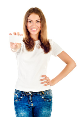 young girl holding empty card isolated on a white