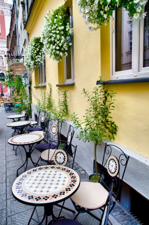 beautiful european street cafe outdoors