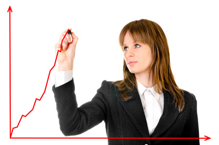 business woman drawing earnings graph photo