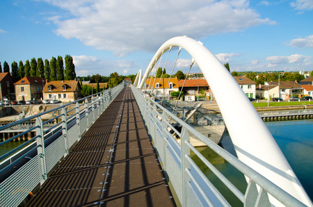 rural town: metal bridge in a rural town Stock Photo