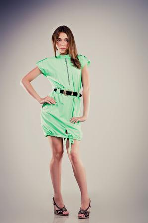 teenage girl dress: fashion young girl studio shot Stock Photo