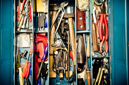 tool box: a lot of old instruments in tool box