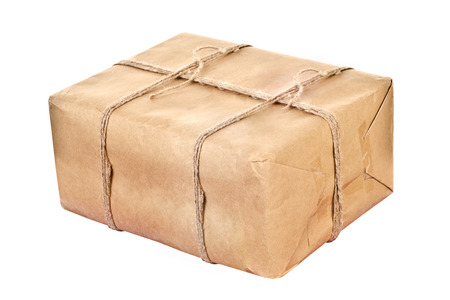 carton parcel isolated on a white background photo