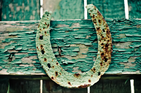 old horseshoe on a green fence photo