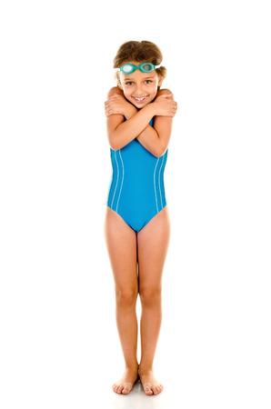 children swimsuit: little girl in swimsuit isolated on white Stock Photo
