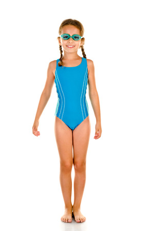 little girl in swimsuit isolated on white Reklamní fotografie