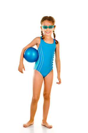 swimsuits: little girl in swimsuit isolated on white Stock Photo