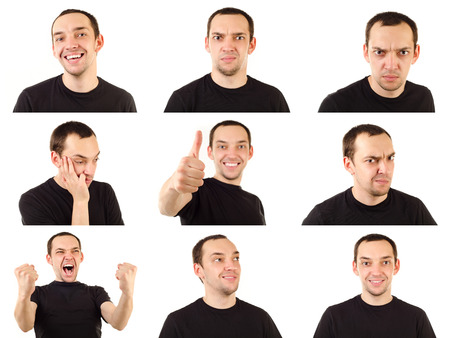 happy faces: young man emotions collection isolated on white