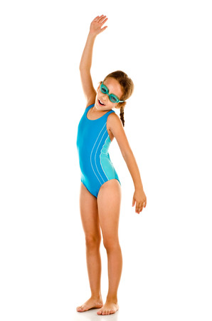 bathing: little girl in swimsuit isolated on white Stock Photo