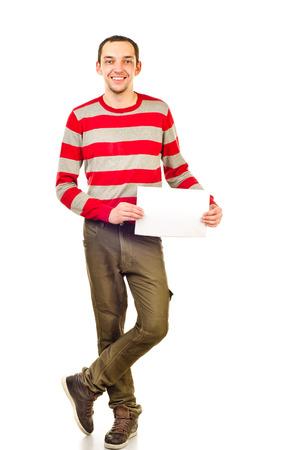 fondo: hombre joven con hoja de papel Foto de archivo