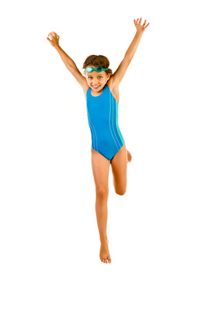 bathing suits: jumping little girl in swimsuit isolated on white Stock Photo