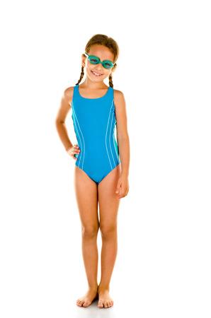 personas banandose: niña en traje de baño aislado en blanco