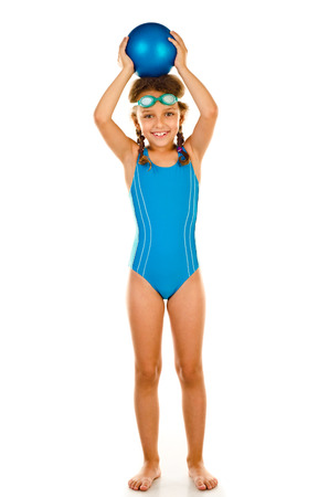 bathing suits: little girl in swimsuit isolated on white Stock Photo