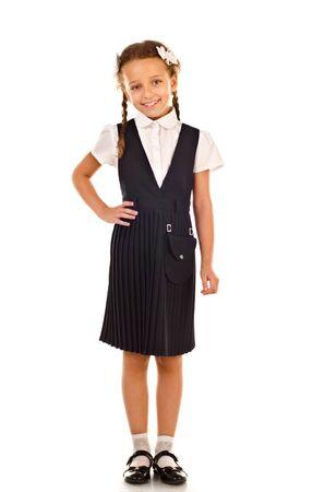 uniformes: colegiala aislado en un fondo blanco Foto de archivo