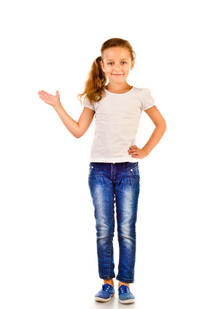 girls in jeans: little girl isolated on a white background
