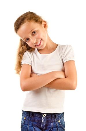 mignonne petite fille: petite fille isol?e sur un fond blanc
