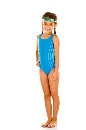 young girl bath: little girl in swimsuit isolated on white Stock Photo