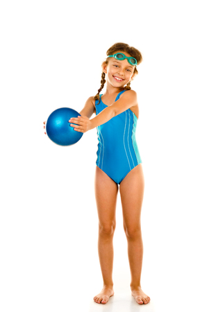 pool ball: little girl in swimsuit isolated on white Stock Photo