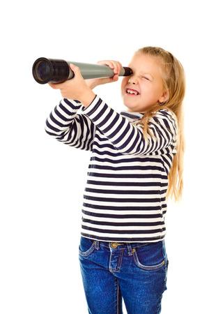 fernrohr: kleines Mädchen mit Fernrohr auf einem weißen Hintergrund Lizenzfreie Bilder