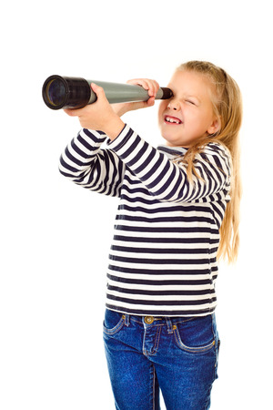 telescope: little girl with telescope isolated on a white background