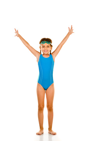 one little girl: Little girl in swimsuit isolated on white Stock Photo