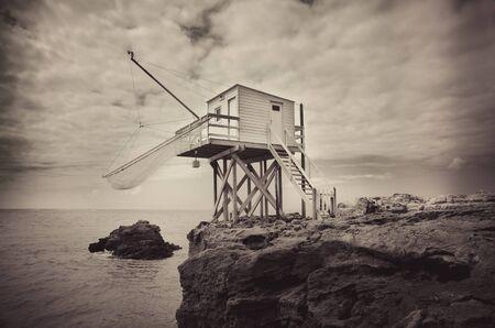 fishing hut: fishing hut in saint palais sur mer