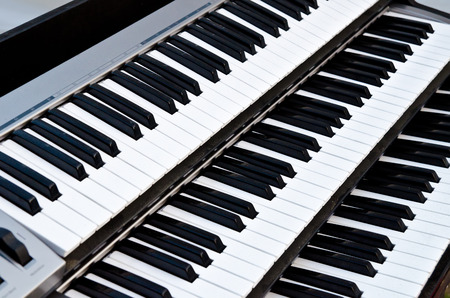 synthesizer: part of synthesizer keyboard closeup Stock Photo