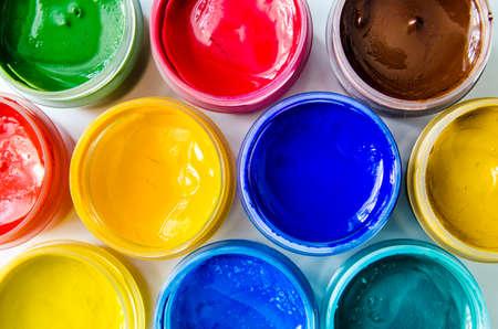 paint container: paints gouache top view closeup