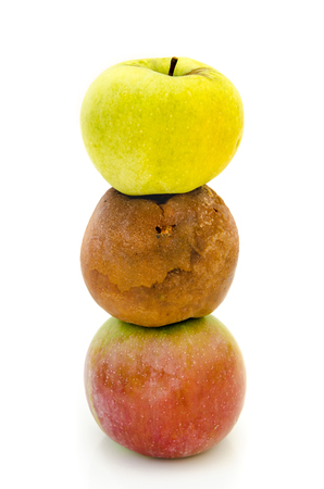 bad apple: rotten apples isolated on a white background