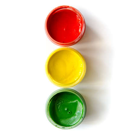 paint container: traffic light made of paints isolated on a white background Stock Photo