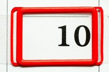 numero diez: fecha del calendario con el número diez Foto de archivo