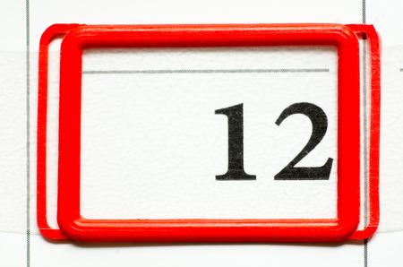 twelve: calendar date with number twelve Stock Photo