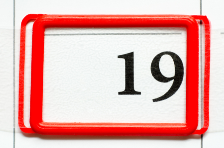 nineteen: calendar date with number nineteen Stock Photo