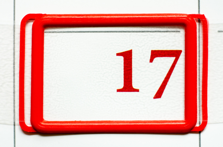 calendar date with number seventeen Stock Photo
