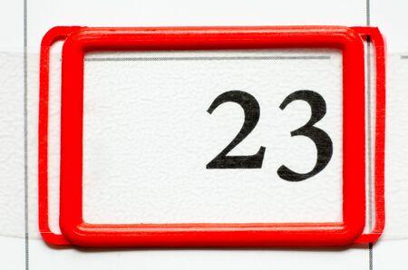 20 23 years: calendar date with number twenty three