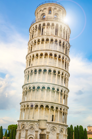 pisa tower with sun and sky