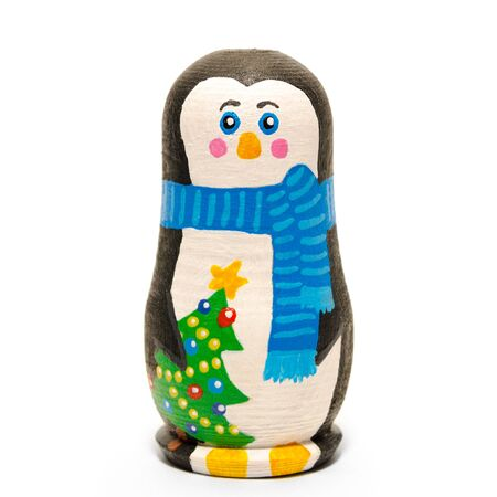 christmas penguin isolated on a white background