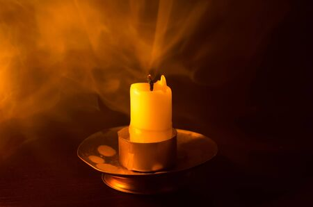 candle smoke isolated on a black background