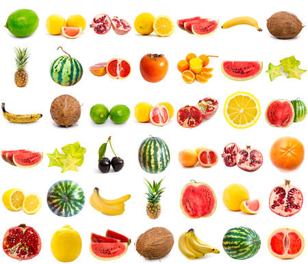 fruits collection isolated on a white background