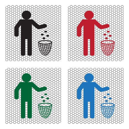 throwing: Silhouette of a man, throwing garbage in a bin