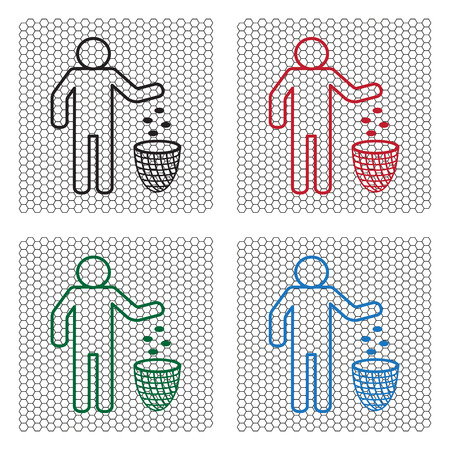 throwing: Silhouette of a man throwing garbage in a bin